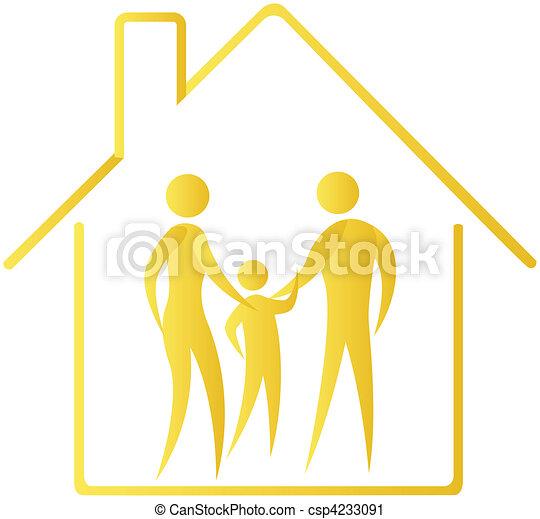 humano, familia, Mostrar, dentro, hogar, contorno - csp4233091