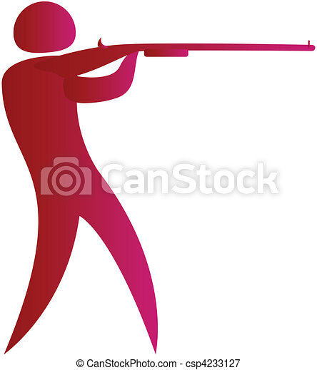 human aiming target with a gun - csp4233127