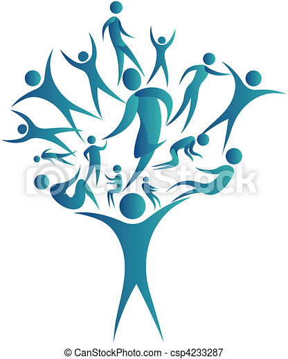 humans connected together to form a tree - csp4233287