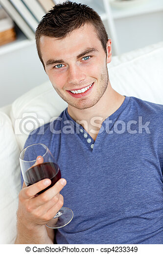 young man with a glass of wine  - csp4233349
