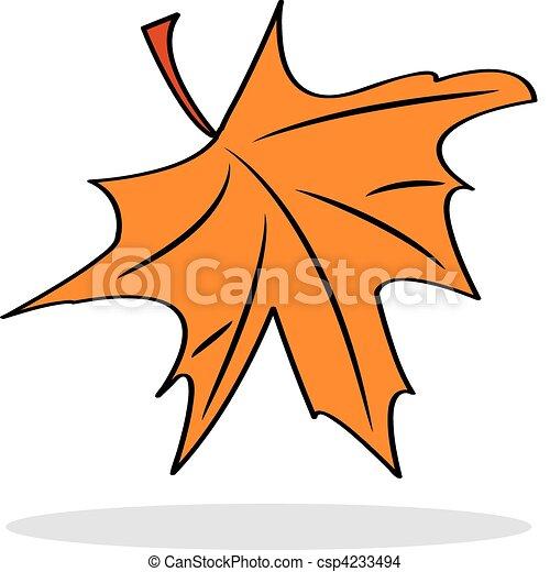 Orange maple leaf with grey shadow - csp4233494