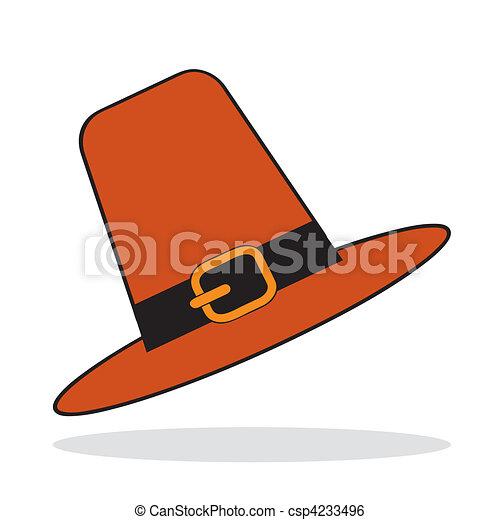 Pilgrim hat with grey shadow - csp4233496