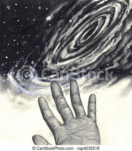 Universe, hand, reaching for the stars - csp4235518