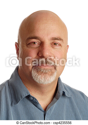 attractive middle aged man with bald shaved head on white background - csp4235556