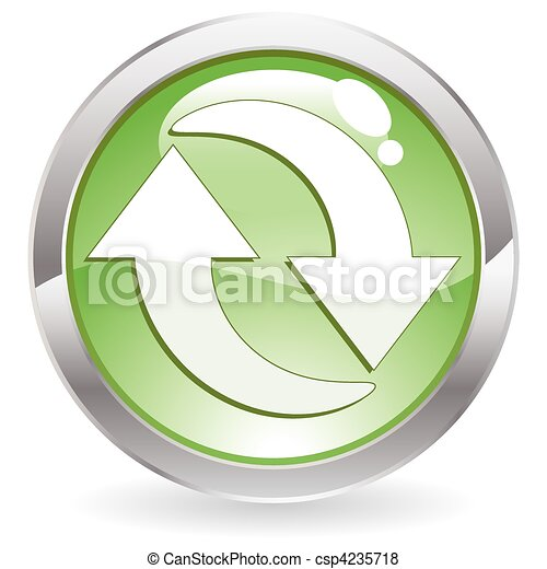 Gloss Button with Recycling Symbol - csp4235718
