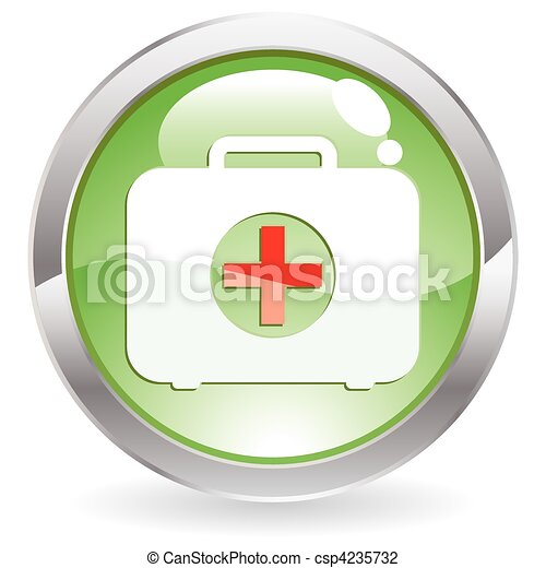 Gloss Button with First aid kit - csp4235732