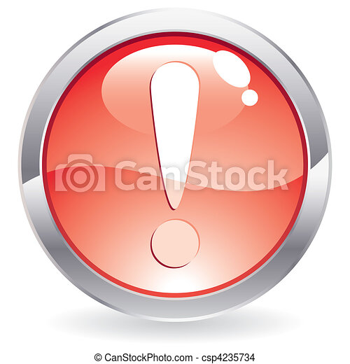 Gloss Button with exclamation point - csp4235734