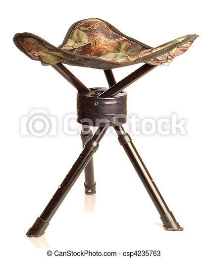 tripod camouflage hunting stool  - csp4235763