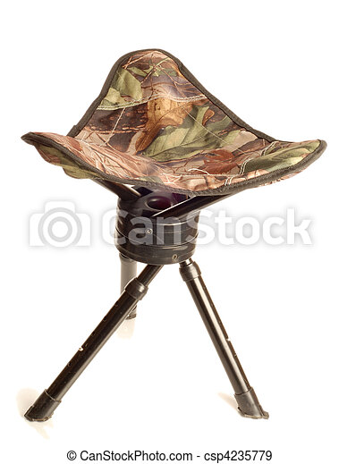 tripod camouflage hunting stool  - csp4235779
