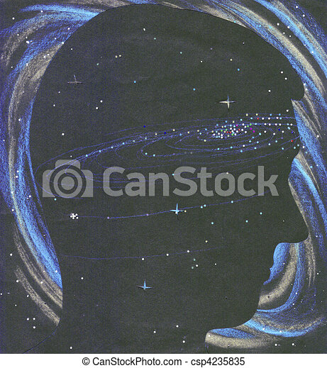Universe person silhouette in space - csp4235835