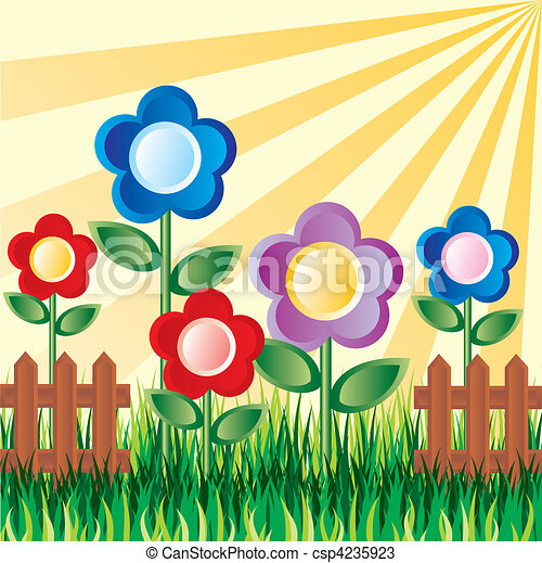 Garden Flower Art vectors of garden flowers - vector image of a flower garden on the