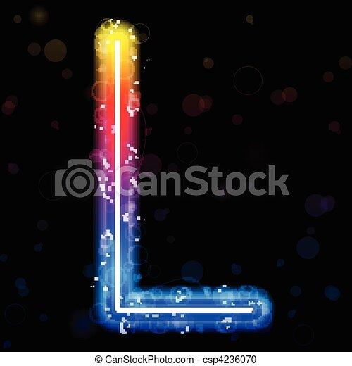 Alphabet Rainbow Lights  Glitter with Sparkles - csp4236070