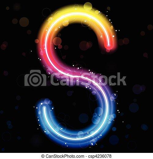 Alphabet Rainbow Lights  Glitter with Sparkles - csp4236078