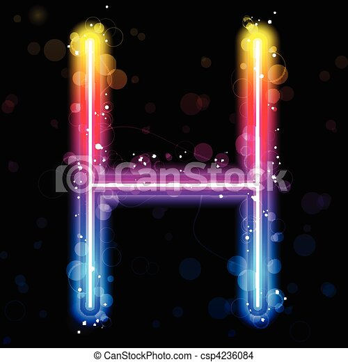 Alphabet Rainbow Lights  Glitter with Sparkles - csp4236084