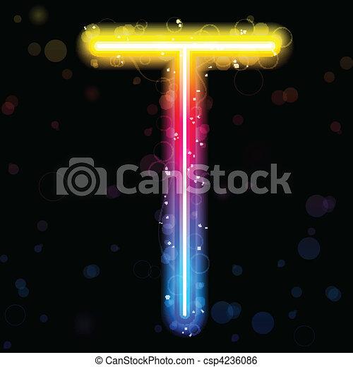 Alphabet Rainbow Lights  Glitter with Sparkles - csp4236086