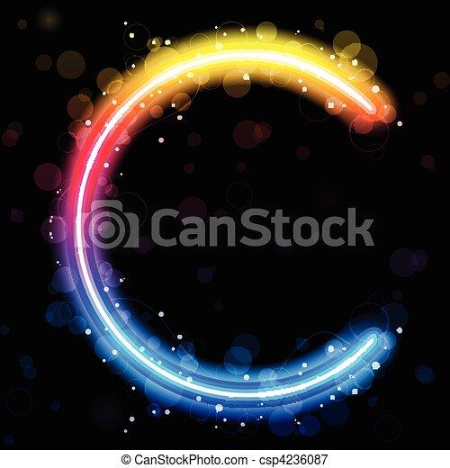 Alphabet Rainbow Lights  Glitter with Sparkles - csp4236087