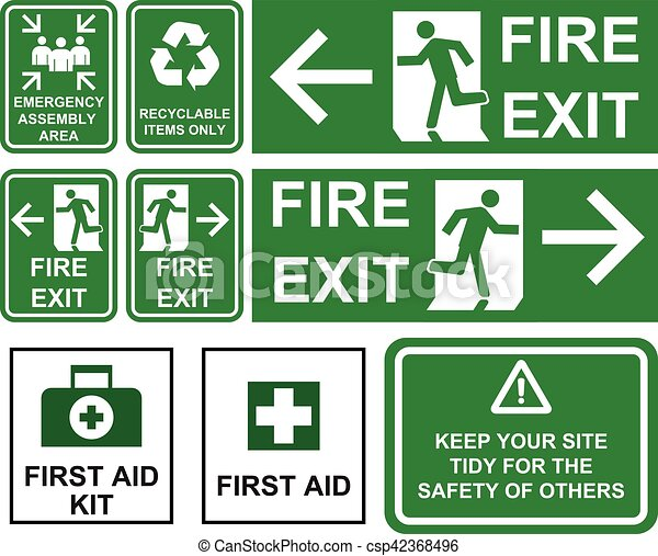 Set of emergency fire exit , emergency assembly area, first aid, recyclable items only  green signs with different directions isolated. - csp42368496