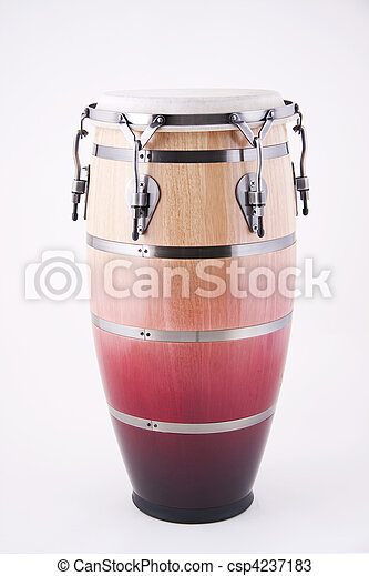 African Latin Conga Drum Isolated On White - csp4237183