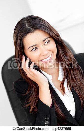 Animated asian businesswoman talking on phone - csp4237666