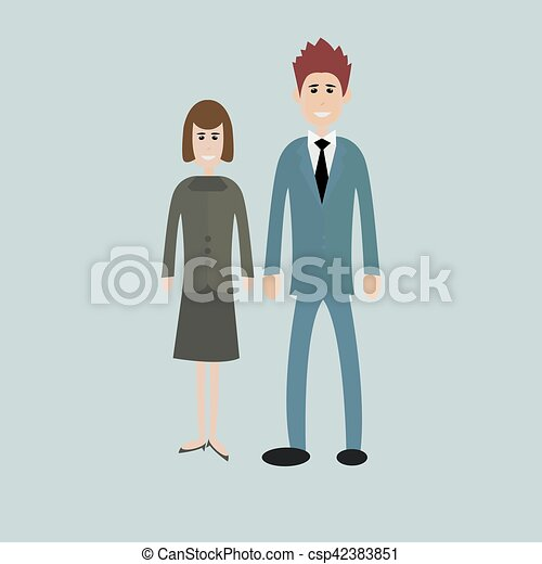 business people - man and woman - dressed in suits Isolated - csp42383851