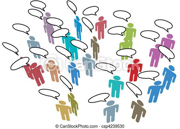 People Meeting Social Media Network Colorful Speech - csp4239530