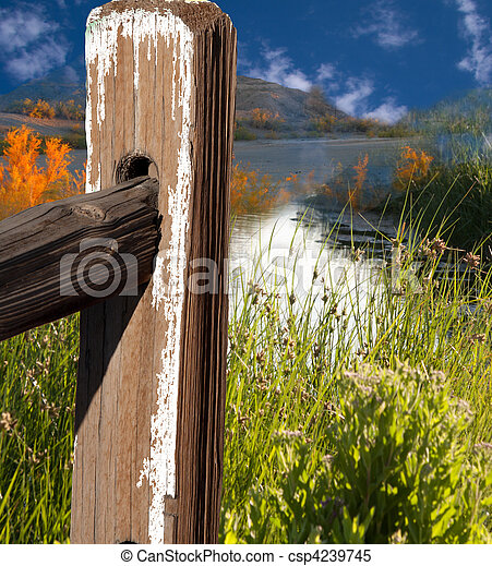 landscape with fence pole - csp4239745