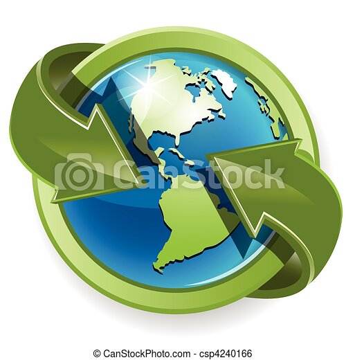 Globe and green arrows - csp4240166