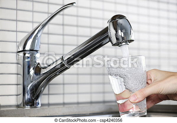 Filling glass of tap water - csp4240356