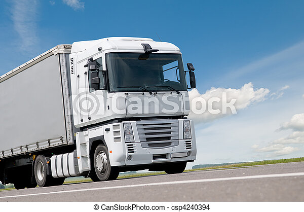 close up lorry truck on road - csp4240394