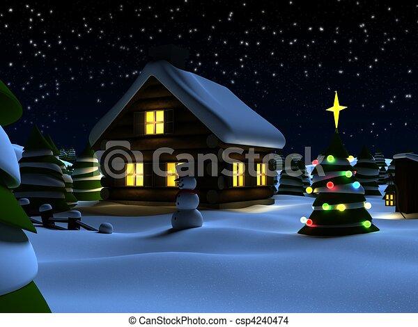 Christmas Inside House Drawing House And a Christmas Tree