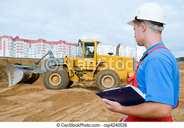 Builder inspector at construction area - csp4240536
