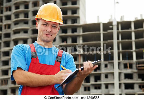Builder satisfied inspector at construction area - csp4240566