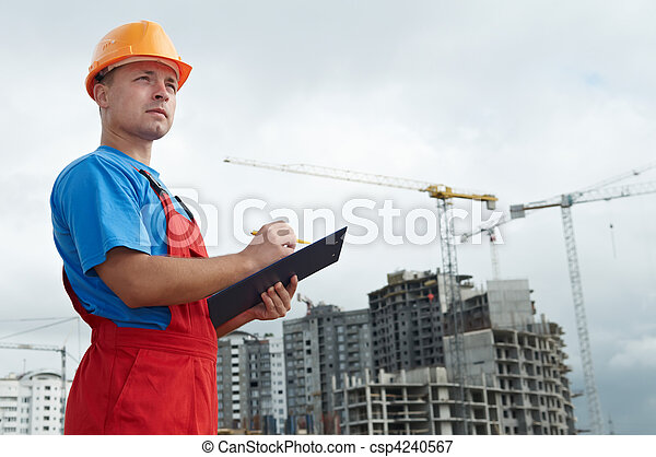 Builder inspector at construction area - csp4240567
