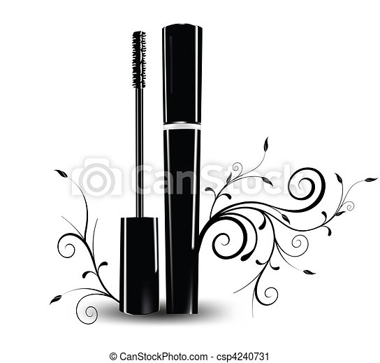 Ink for eyelashes with ornament. Vector - csp4240731