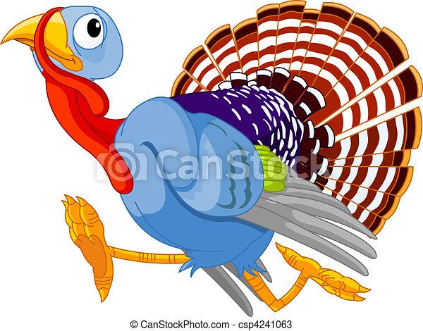 Running Cartoon Turkey - csp4241063