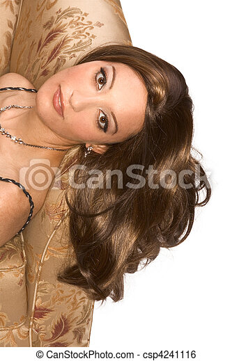 Young attractive Egyptian Arabian woman wearing wig - csp4241116