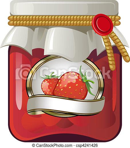 clip vecteur de fraise confiture pot pot de fraise confiture sur csp4241426