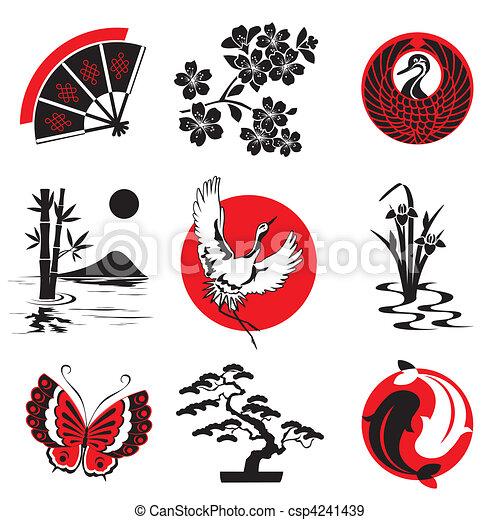 vetor eps de elementos desenho japoneses vetorial