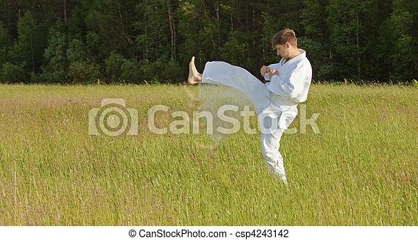 Man in kimono fulfills blows by feet in field - csp4243142