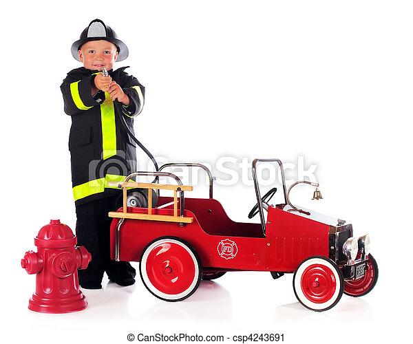 Fireman Hosing - csp4243691