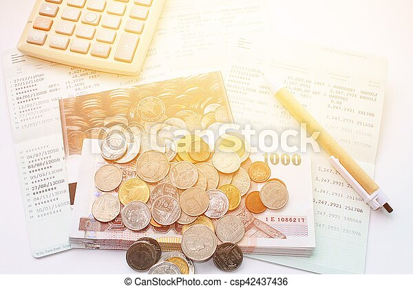 Coins, Thai Money, Pen, Calculator And  Stock Photo - Instant