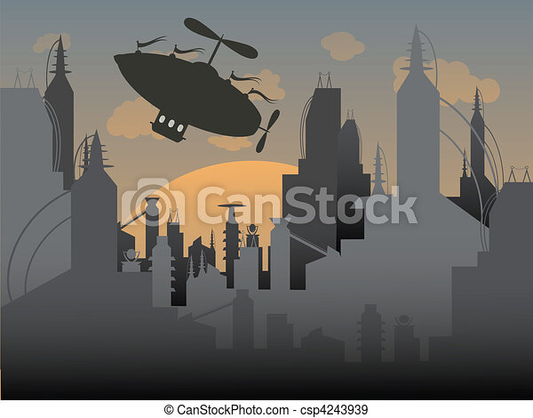 Airship flies away from a futuristi - csp4243939