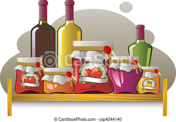 Shelves of bottles and cans - csp4244140