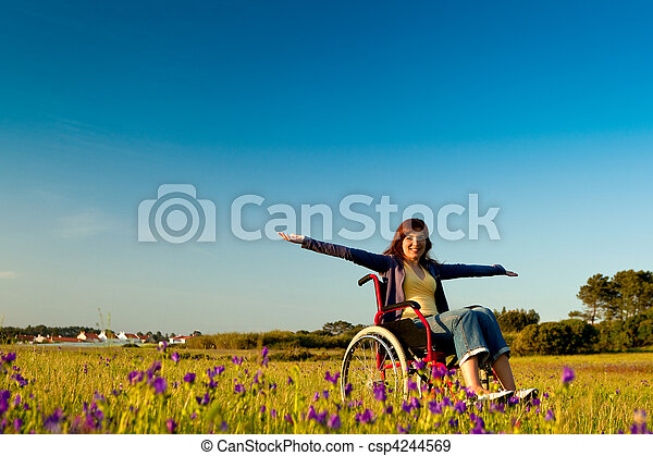 Handicapped woman on wheelchair - csp4244569