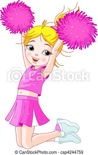 Cute cheerleading girl jumping in - csp4244759