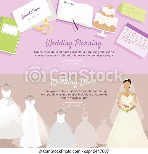 Wedding Planning and Dress Web Banner. - csp42447687