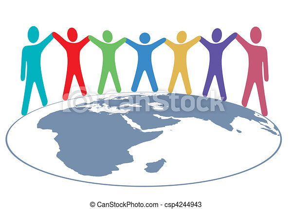 People colors Hold Hands and Arms on World Map - csp4244943