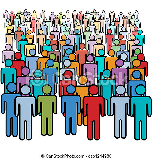 Big crowd of many colors social people group - csp4244980