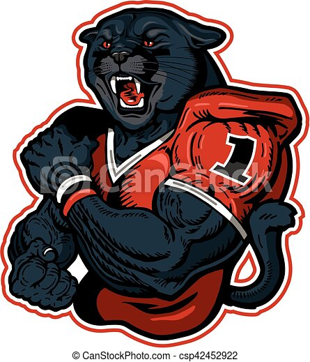 Vector Illustration of panther football player - muscular ...  Vector Illustra...