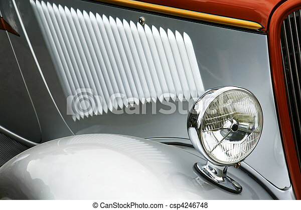 Old silver car detail - csp4246748